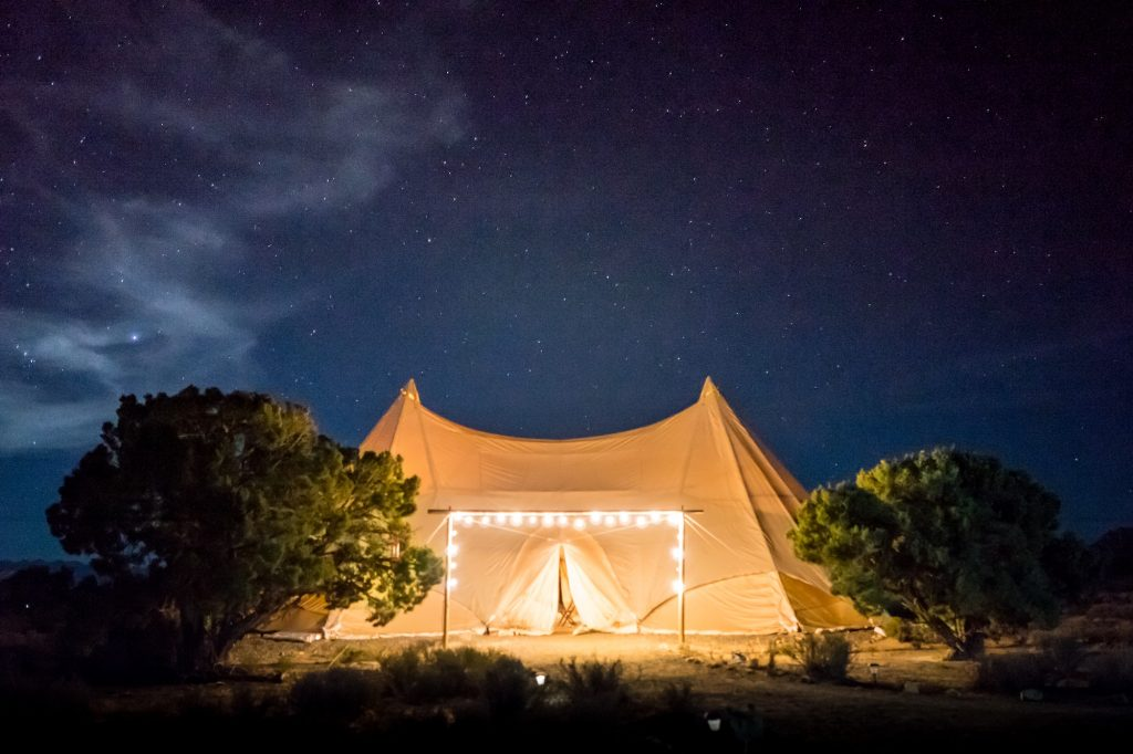 glamping tent with lights