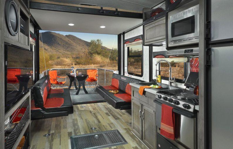 toy hauler rv trailer interior deck