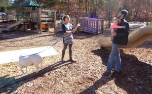 RVer chats on playground