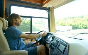 husband driving an rv