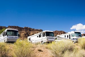 class A motorhomes parked in california