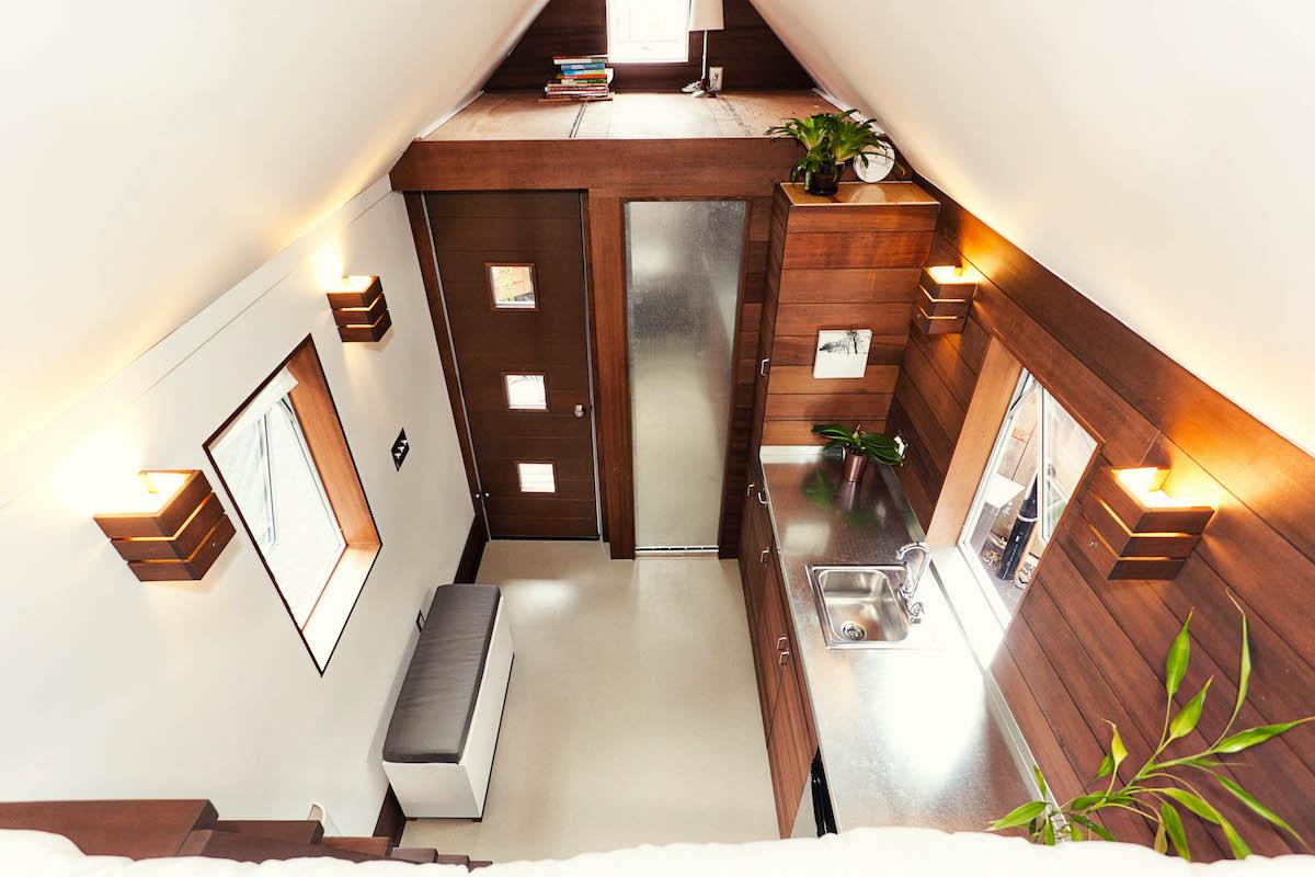 tiny home modern minimalist moveable trailer interior