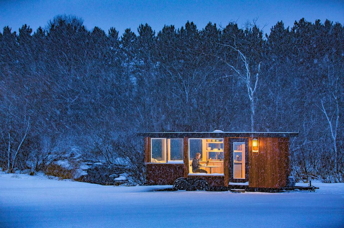 Large window weather proof mobile tiny home rv handmade