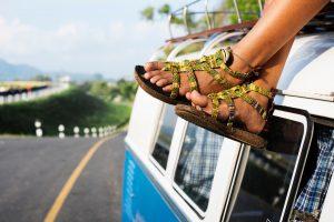 van camping camper van sandals travel vintage van