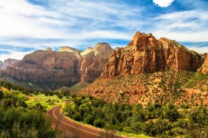 zion national park red rock cliffs driving rv camping