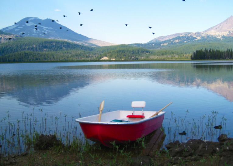 trailer boat retro american dream camper trailer rowboat lake