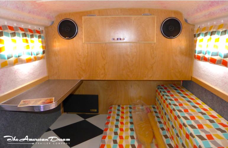checkerboard floor camper trailer retro fabric revival vintage rv