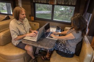 remote work rv dinette home office motorhome